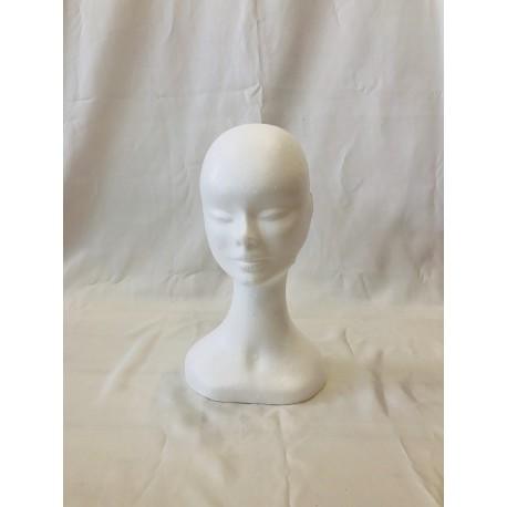 Testa donna di polistirolo collo alto